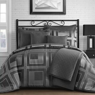 Modern Square 5-Piece Modern Comforter Set in Dark Grey/Light Grey