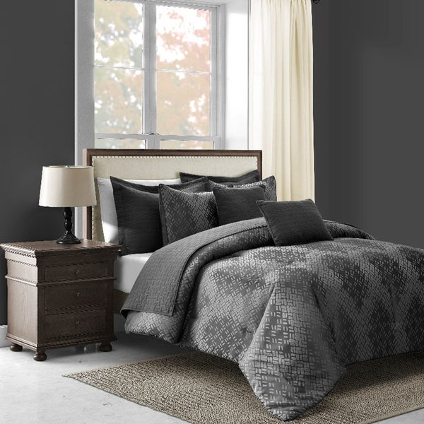 Echo Dot 5-Piece Modern Grey Comforter Set
