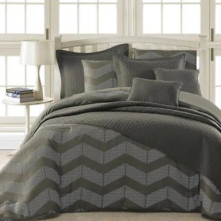 Kotter Home Spot Chevron 5-Piece Modern Grey Comforter Set