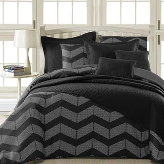 Kotter Home Spot Chevron 5-Piece Modern Black/Grey Comforter Set