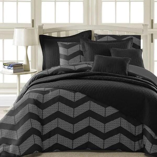 Kotter Home Spot Chevron 5-Piece Modern Black/Grey Comforter Set
