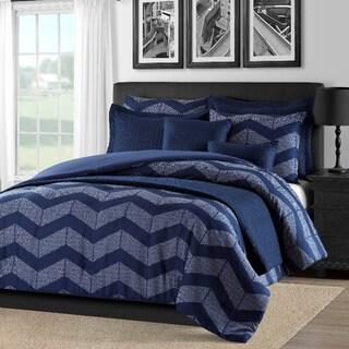 Kotter Home Spot Chevron 5-Piece Modern Navy Blue Comforter Set