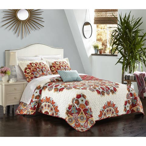 Chic Home Alain Red 8-Piece Bed in a Bag Reversible Quilt Set