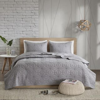 Urban Habitat Mason Grey Reversible Cotton Coverlet Mini Set