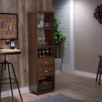 Furniture of America Marco Dark Walnut Standing Open Wine Cabinet