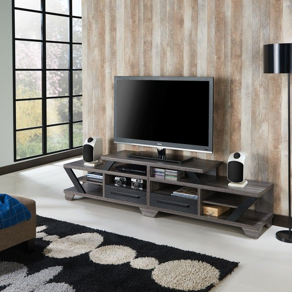 Shop Mezu Contemporary 82 Inch Distressed Grey Tv Stand By Foa On