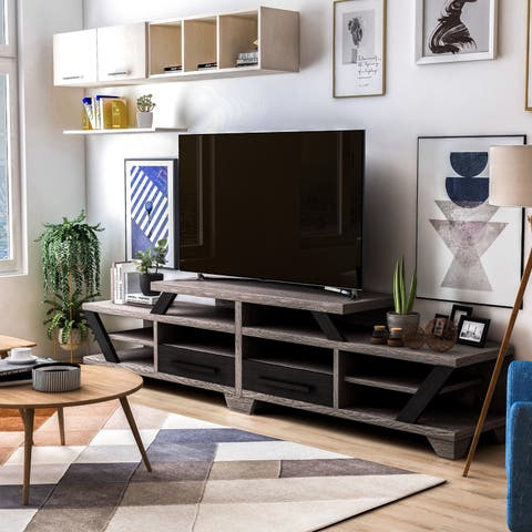 Mezu Contemporary 82-inch Distressed Grey TV Stand by FOA