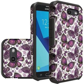 Insten Purple Butterfly Hard PC/ Silicone Dual Layer Hybrid Rubberized Matte Case Cover For Samsung Galaxy J7 (2017)