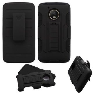 Insten Black Advanced Armor Hard Snap-on Dual Layer Hybrid Case Cover with Stand/Holster For Motorola Moto G5