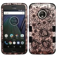 Insten Rose Gold/Black Four-leaf Clover Tuff Hard PC/ Silicone Dual Layer Hybrid Case Cover For Motorola Moto G5 Plus