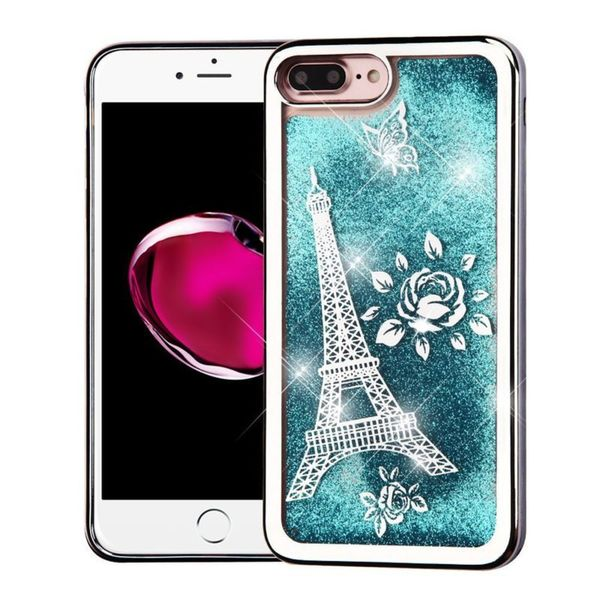 Insten Blue/Silver Quicksand Hard Snap-on Chrome Glitter Case Cover For Apple iPhone 7 Plus