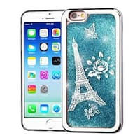 Insten Blue/Silver Quicksand Hard Snap-on Chrome Glitter Case Cover For Apple iPhone 6/6s