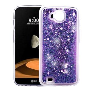 Insten Purple Hearts Quicksand Hard Snap-on Glitter Case Cover For LG V9 X Calibur
