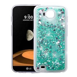 Insten Green Hearts Quicksand Hard Snap-on Glitter Case Cover For LG V9 X Calibur