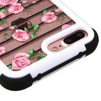 Insten Pink/White Clear Fresh Roses Hard PC/ Silicone Dual Layer Hybrid Crystal Case Cover For Apple iPhone 7 Plus