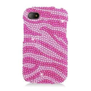 Insten Purple/Silver Zebra Hard Snap-on Rhinestone Bling Case Cover For BlackBerry Q10