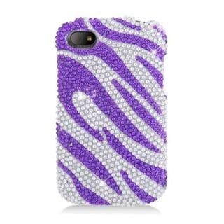 Insten Hot Pink/Pink Zebra Hard Snap-on Diamond Bling Case Cover For BlackBerry Q10