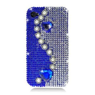Insten Blue/White 3D Pearl Hard Snap-on Rhinestone Bling Case Cover For Apple iPhone 4/4S