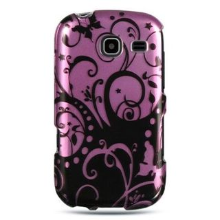 Insten Black/Hot Pink Swirl Hard Snap-on Rubberized Matte Case Cover For Samsung Freeform III R380