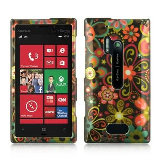 Insten Black/Orange Flowers Hard Snap-on Rubberized Matte Case Cover For Nokia Lumia 928