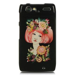 Insten Black/Pink Flower Girl Hard Snap-on Rubberized Matte Case Cover For Motorola Droid Razr XT912