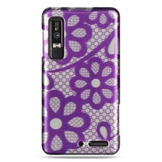 Insten Purple Flowers Hard Snap-on Rubberized Matte Case Cover For Motorola Droid 3
