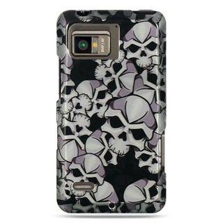 Insten Black/White Skull Hard Snap-on Rubberized Matte Case Cover For Motorola Droid Bionic XT875 Targa