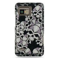 Insten Black/White Skull Hard Snap-on Rubberized Matte Case Cover For Motorola Droid Bionic XT875 Targa