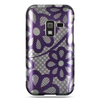 Insten Purple Flowers Hard Snap-on Rubberized Matte Case Cover For Samsung Conquer 4G SPH-D600