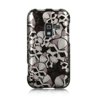 Insten Black/White Skull Hard Snap-on Rubberized Matte Case Cover For Samsung Galaxy Attain 4G SCH-R920