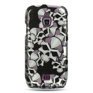 Insten Black/White Skull Hard Snap-on Rubberized Matte Case Cover For Samsung Exhibit 4G T759