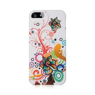 Insten White/Orange Autumn Flower Hard Snap-on Rubberized Matte Case Cover For Apple iPhone 5/5S