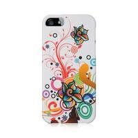 Insten White/Orange Autumn Flower Hard Snap-on Rubberized Matte Case Cover For Apple iPhone 5/5S