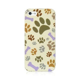 Insten White/Brown Dog Paws Hard Snap-on Rubberized Matte Case Cover with Diamond For Apple iPhone 5/5S