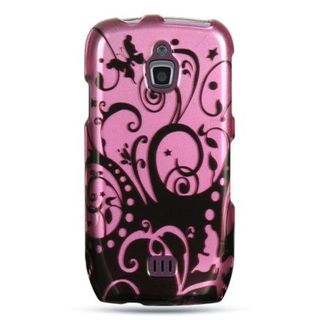 Insten Black/Hot Pink Swirl Hard Snap-on Rubberized Matte Case Cover For Samsung Exhibit 4G T759