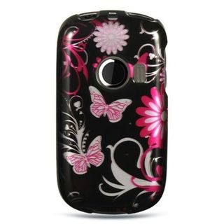 Insten Hot Pink/Black Butterfly Hard Snap-on Rubberized Matte Case Cover For Huawei M835