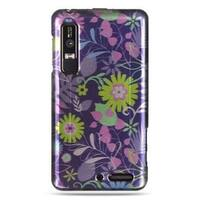 Insten Purple/Green Weed Hard Snap-on Rubberized Matte Case Cover For Motorola Droid 3