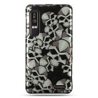 Insten Black/White Skull Hard Snap-on Rubberized Matte Case Cover For Motorola Droid 3