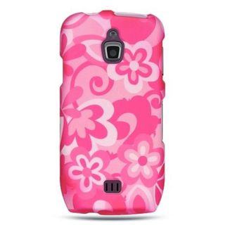 Insten Hot Pink/White Flowers Hard Snap-on Rubberized Matte Case Cover For Samsung Exhibit 4G T759