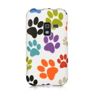 Insten White/Orange Dog Paws Hard Snap-on Rubberized Matte Case Cover For Samsung Galaxy Attain 4G SCH-R920