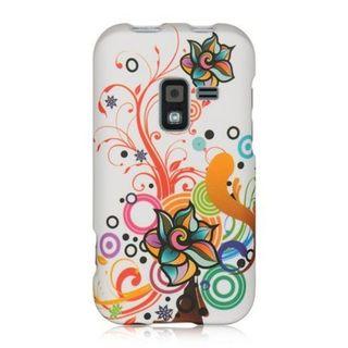 Insten White/Orange Autumn Flower Hard Snap-on Rubberized Matte Case Cover For Samsung Galaxy Attain 4G SCH-R920