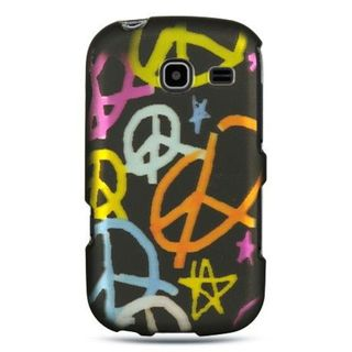 Insten Black Peace Hard Snap-on Rubberized Matte Case Cover For Samsung Freeform III R380
