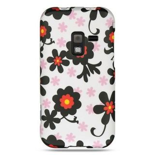 Insten White/Black Daisy Hard Snap-on Rubberized Matte Case Cover For Samsung Conquer 4G SPH-D600