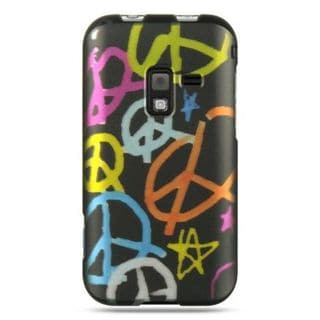 Insten Black Peace Hard Snap-on Rubberized Matte Case Cover For Samsung Conquer 4G SPH-D600