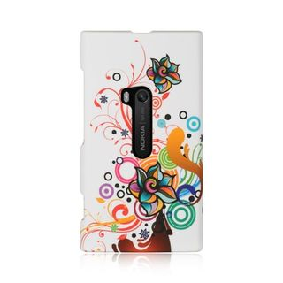 Insten White/Orange Autumn Flower Hard Snap-on Rubberized Matte Case Cover For Nokia Lumia 920