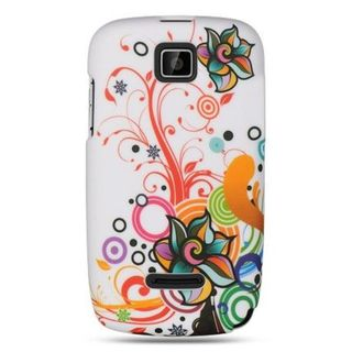 Insten White/Orange Autumn Flower Hard Snap-on Rubberized Matte Case Cover For Motorola Theory WX430