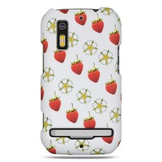 Insten White/Red Strawberry Hard Snap-on Rubberized Matte Case Cover For Motorola Photon 4G MB855