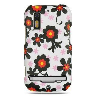 Insten White/Black Daisy Hard Snap-on Rubberized Matte Case Cover For Motorola Photon 4G MB855