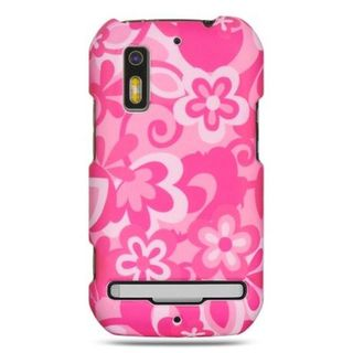 Insten Hot Pink/White Flowers Hard Snap-on Rubberized Matte Case Cover For Motorola Photon 4G MB855