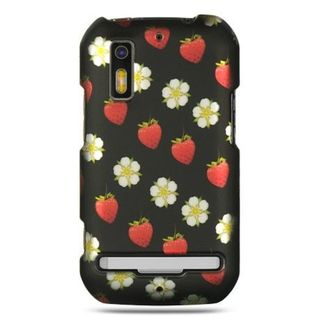 Insten Black/Red Strawberry Hard Snap-on Rubberized Matte Case Cover For Motorola Photon 4G MB855